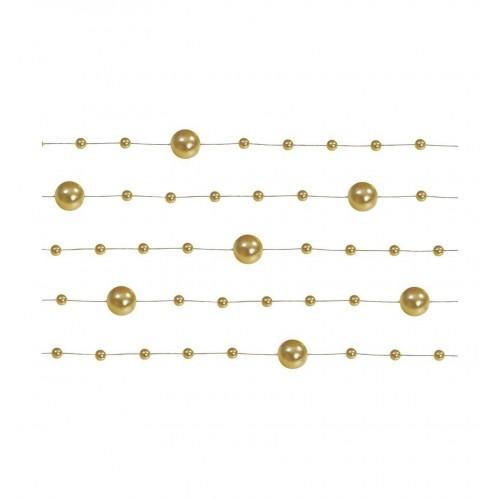 Girlanda perłowa - złoty (5 sztuk)