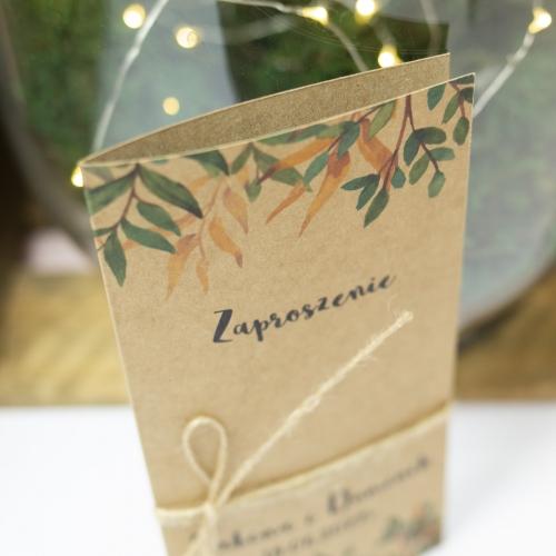 Zaproszenie ślubne - Rustic Green - składane