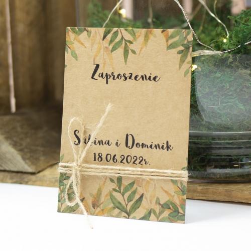 Zaproszenie ślubne - Rustic Green - 3 karteczki