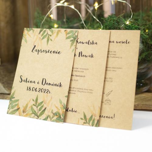 Zaproszenie ślubne - Rustic Heart - 3 karteczki