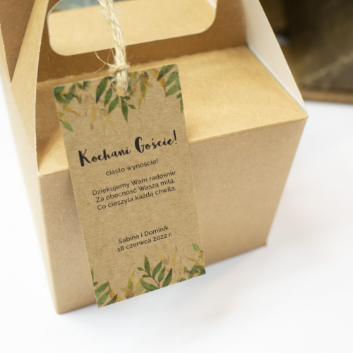 Małe pudełko na ciasto z papieru czerpanego - Rustic Green