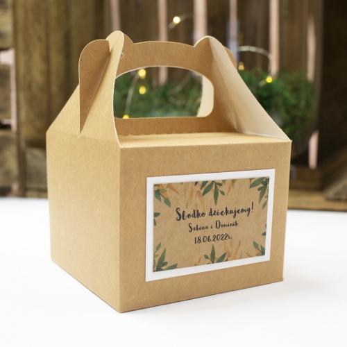Małe pudełko na ciasto z papieru czerpanego z etykietą - Rustic Green