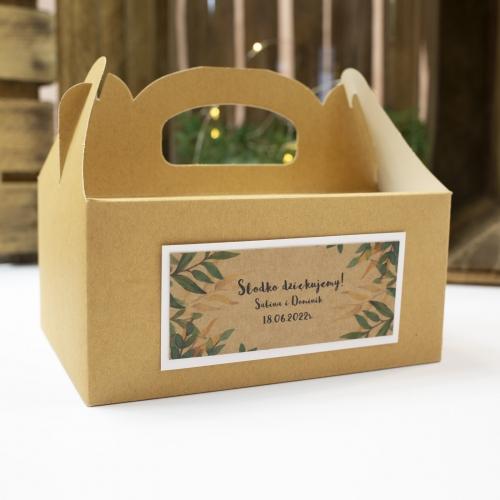 Duże pudełko na ciasto z papieru czerpanego z etykietą - Rustic Green