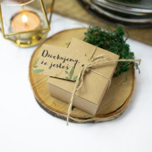 Kwadratowe pudełeczka dla gości - Rustic Green (10 sztuk)