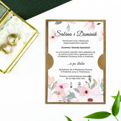 Zaproszenie ślubne - Delikatne róże