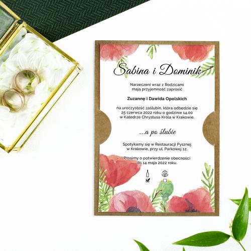 Zaproszenie ślubne - Czerwone maki