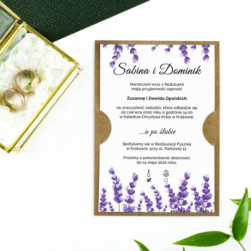 Zaproszenie ślubne - Lawendowe