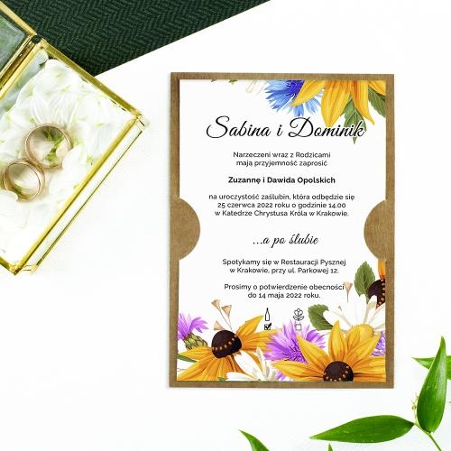 Zaproszenie ślubne - Słoneczniki
