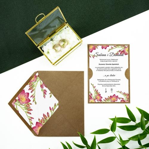 Zaproszenie ślubne - Frezje