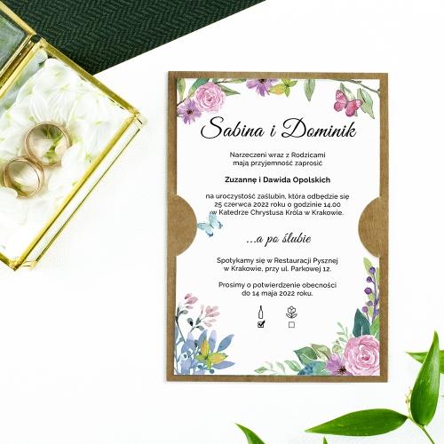 Zaproszenie ślubne - Wiosenne kwiaty