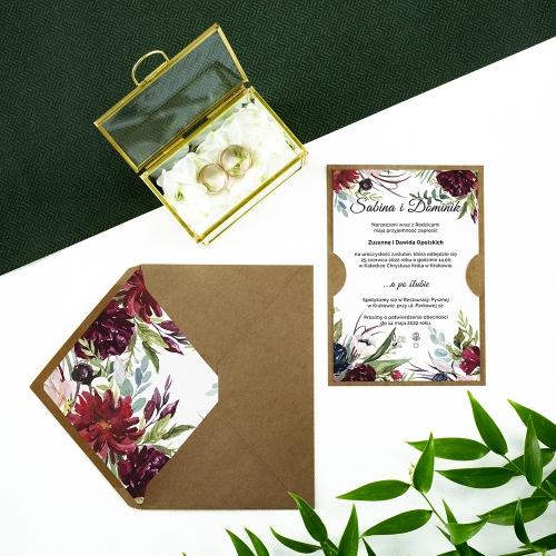 Zaproszenie ślubne - Piwonie