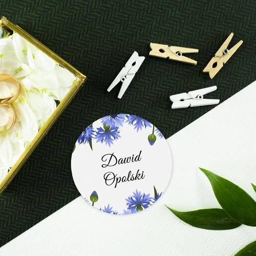Okrągła winietka weselna - Chabry