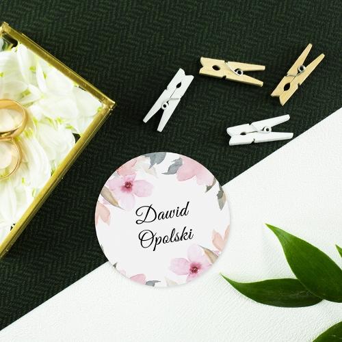 Okrągła winietka weselna - Delikatne róże