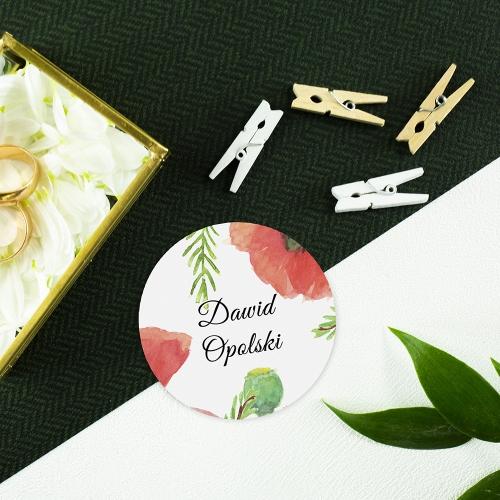 Okrągła winietka weselna - Maki