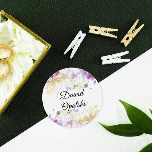 Okrągła winietka weselna - Pastele