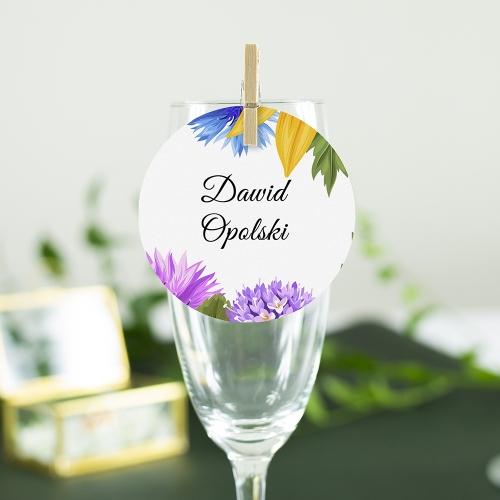 Okrągła winietka weselna - Słoneczniki