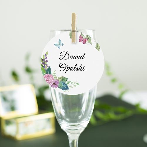 Okrągła winietka weselna - Wiosenne kwiaty