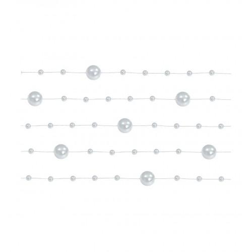 Girlanda perłowa - srebrny (5 sztuk)