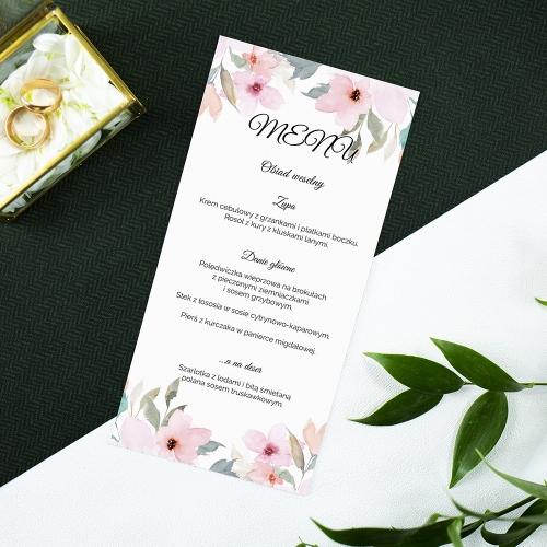 Menu weselne - Delikatne róże