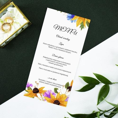 Menu weselne - Słoneczniki