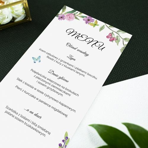 Menu weselne - Wiosenne kwiaty