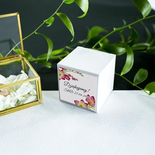 Pudełeczka dla gości - białe - Frezje (10 sztuk)