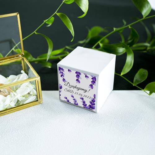 Pudełeczka dla gości - białe - Lawenda (10 sztuk)
