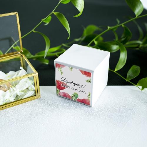 Pudełeczka dla gości - białe - Czerwone maki (10 sztuk)
