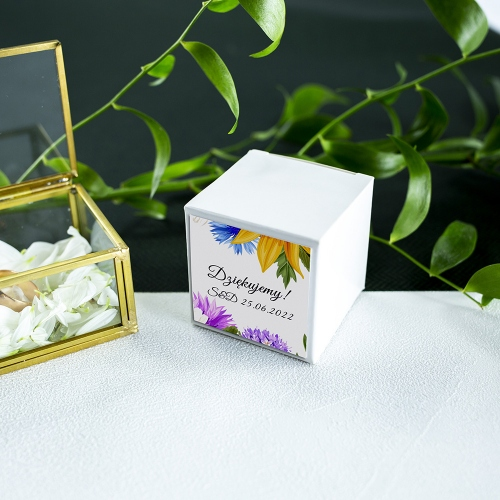 Pudełeczka dla gości - białe - Słoneczniki (10 sztuk)