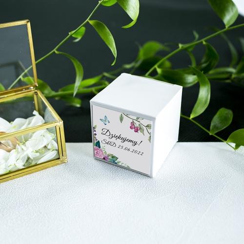 Pudełeczka dla gości - białe - Wiosenne kwiaty (10 sztuk)