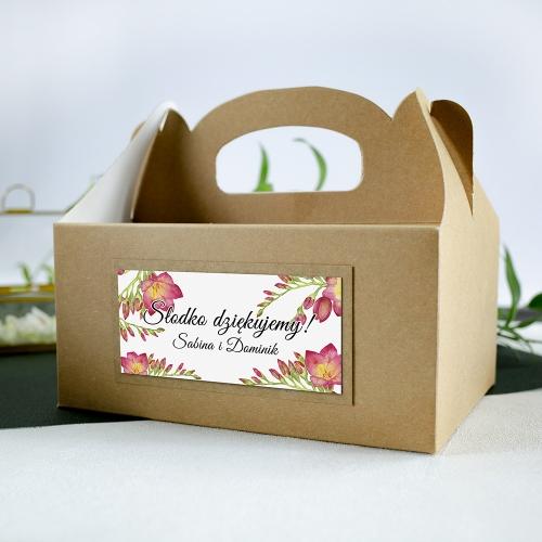 Duże pudełko na ciasto z papieru czerpanego - Frezje