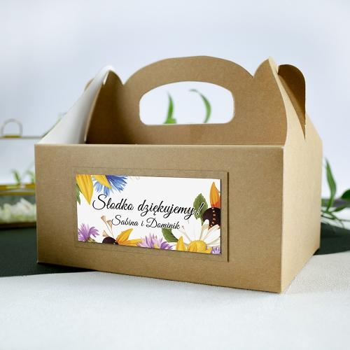 Duże pudełko na ciasto z papieru czerpanego - Słoneczniki