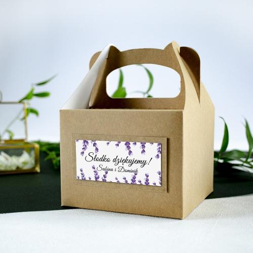 Małe pudełko na ciasto z papieru czerpanego - Lawenda