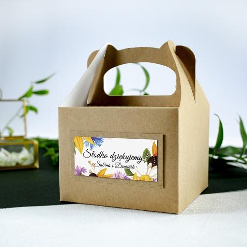 Małe pudełko na ciasto z papieru czerpanego - Słoneczniki