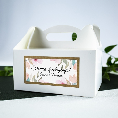 Duże pudełko na ciasto - białe - Delikatne róże