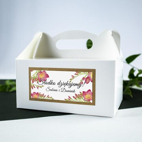 Duże pudełko na ciasto - białe - Frezje