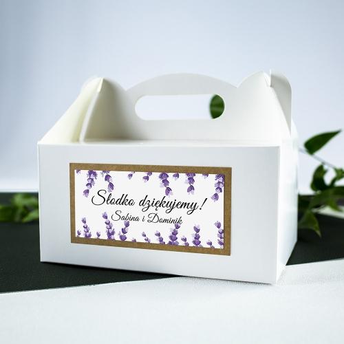 Duże pudełko na ciasto - białe - Lawenda