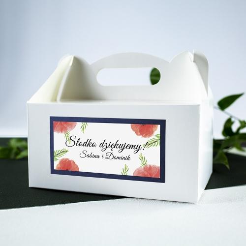 Duże pudełko na ciasto - białe - Czerwone maki