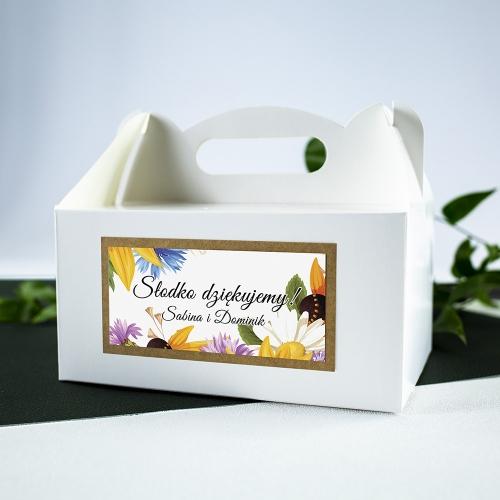 Duże pudełko na ciasto - białe - Słoneczniki