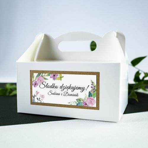 Duże pudełko na ciasto - białe - Wiosenne kwiaty
