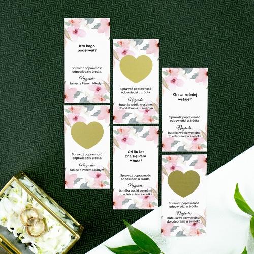 Zdrapki weselne - Delikatne róże - 24 sztuki