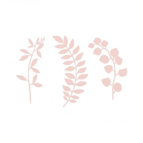 Gałązki z listkami - pudrowy róż