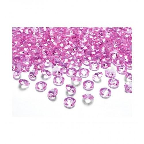 Diamentowe konfetti - różowe (100 sztuk)