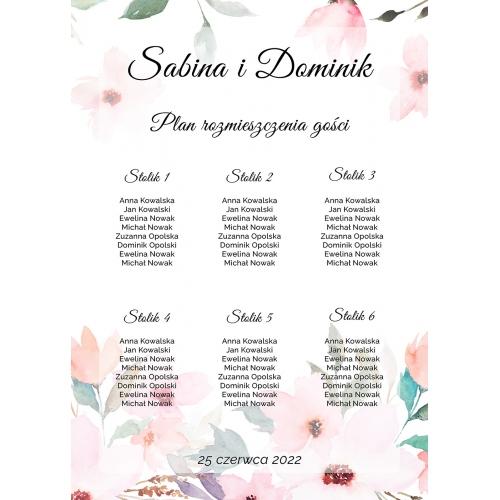 Plakat rozmieszczenia gości - Delikatne róże