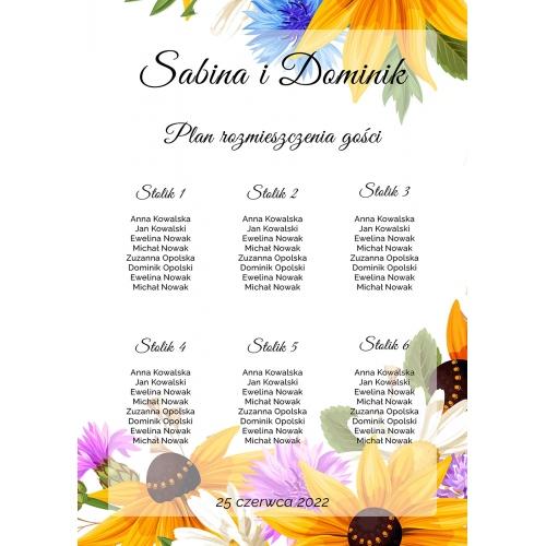 Plakat rozmieszczenia gości - Słoneczniki