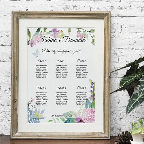 Plakat rozmieszczenia gości - Wiosenne kwiaty