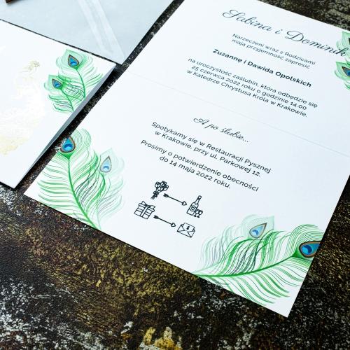 Zaproszenia ślubne - Pawie oczko - składane