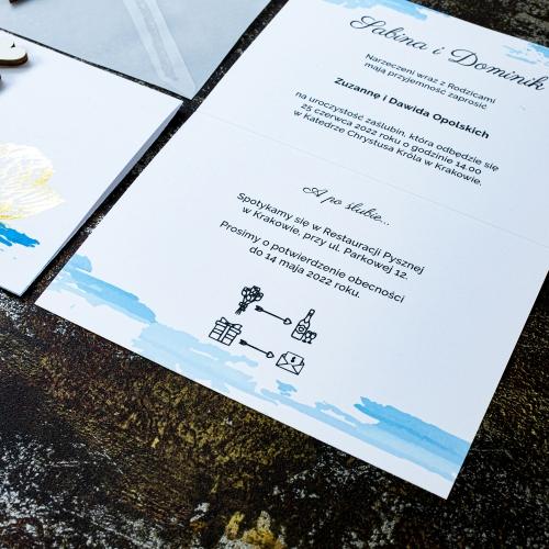 Zaproszenia ślubne - Dostojne łabędzie - składane