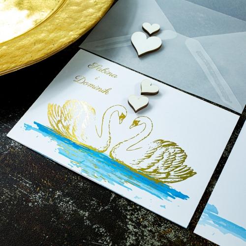 Zaproszenia ślubne - Dostojne łabędzie