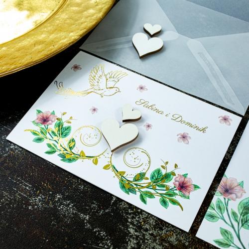 Zaproszenia ślubne - Rajski ptak - składane
